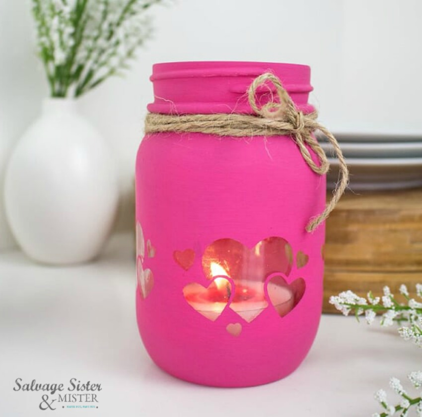 valentine craft - Reuse an old mason jar and create this beautiful lantern with or without a Cricut. Get the full craft tutorial on salvagesisterandmister.com