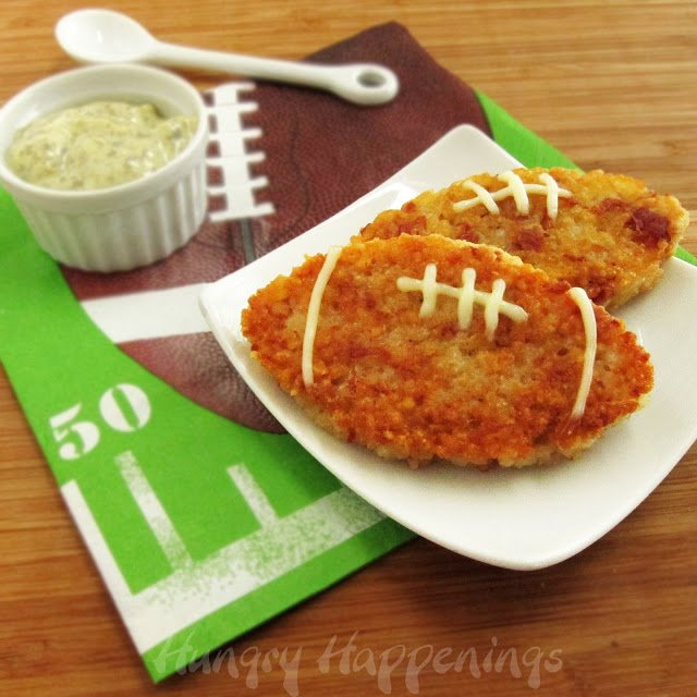 Football Shaped Prosciutto and Asiago Rice Cakes