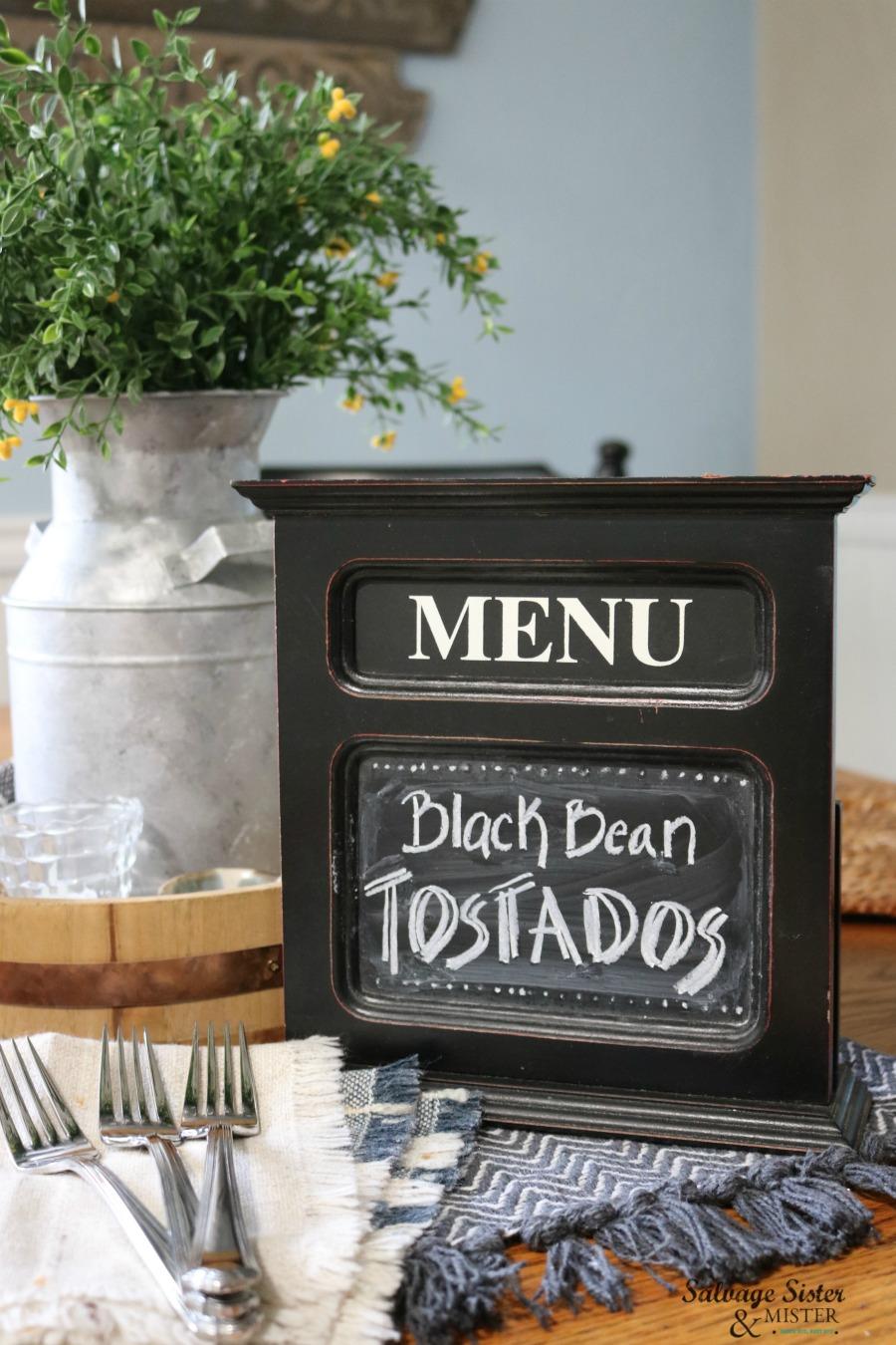 menu chalkboard found while thrifting. Get beginner chalkboard lettering tips on salvagesisterandmister.com