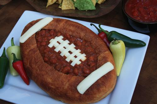 Chili Recipe in Football Bread