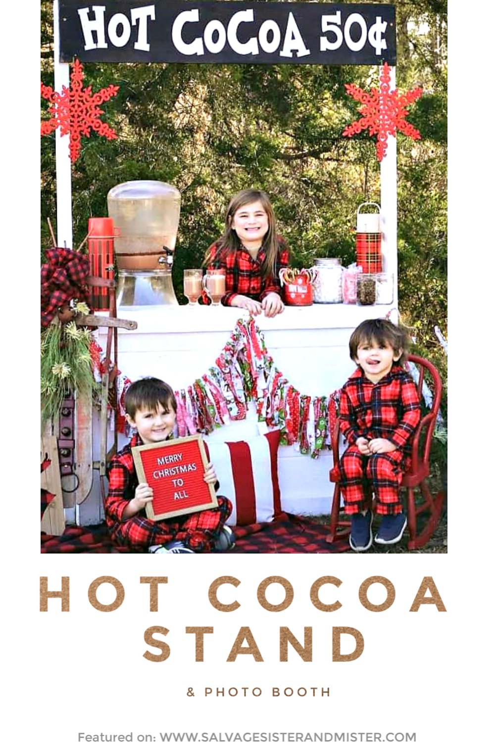 Creating a hot cocoa stand and photo booth for a fun party, family activity, neighborhood event, or a photo area for winter or holiday pictures. This fun station was made using items on hand and/or thrifted items. A vintage vibe with plaid and buffalo check really makes it fun. Get the details of this feature on salvagesisterandmister.com