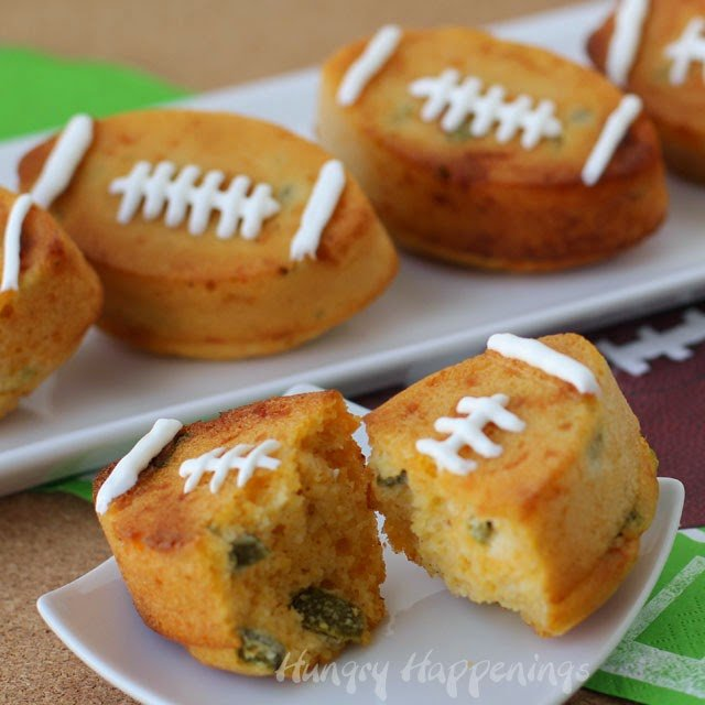 Jalapeño Cheddar Corn Bread Footballs