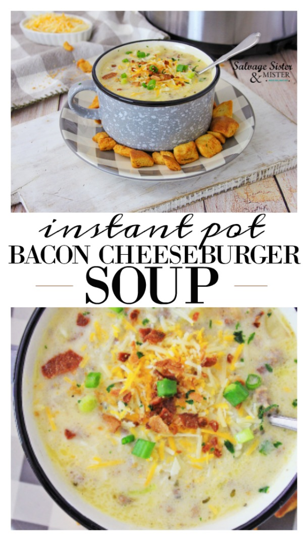 This easy instant pot bacon cheeseburger soup is so delicious, and it's done in no time in the instant pot. You'll love this recipe, it's quick and easy, and you'll never miss the bun. You get a hearty and healthy version of an old favorite that the whole family will love. You can serve this up with crunchy garlic bread or crackers, a tomato and onion salad, or whatever your favorites are, and have a great dinner or lunch. Pop this one in your favorites. Get the full recipe on salvagesisternadmister.com