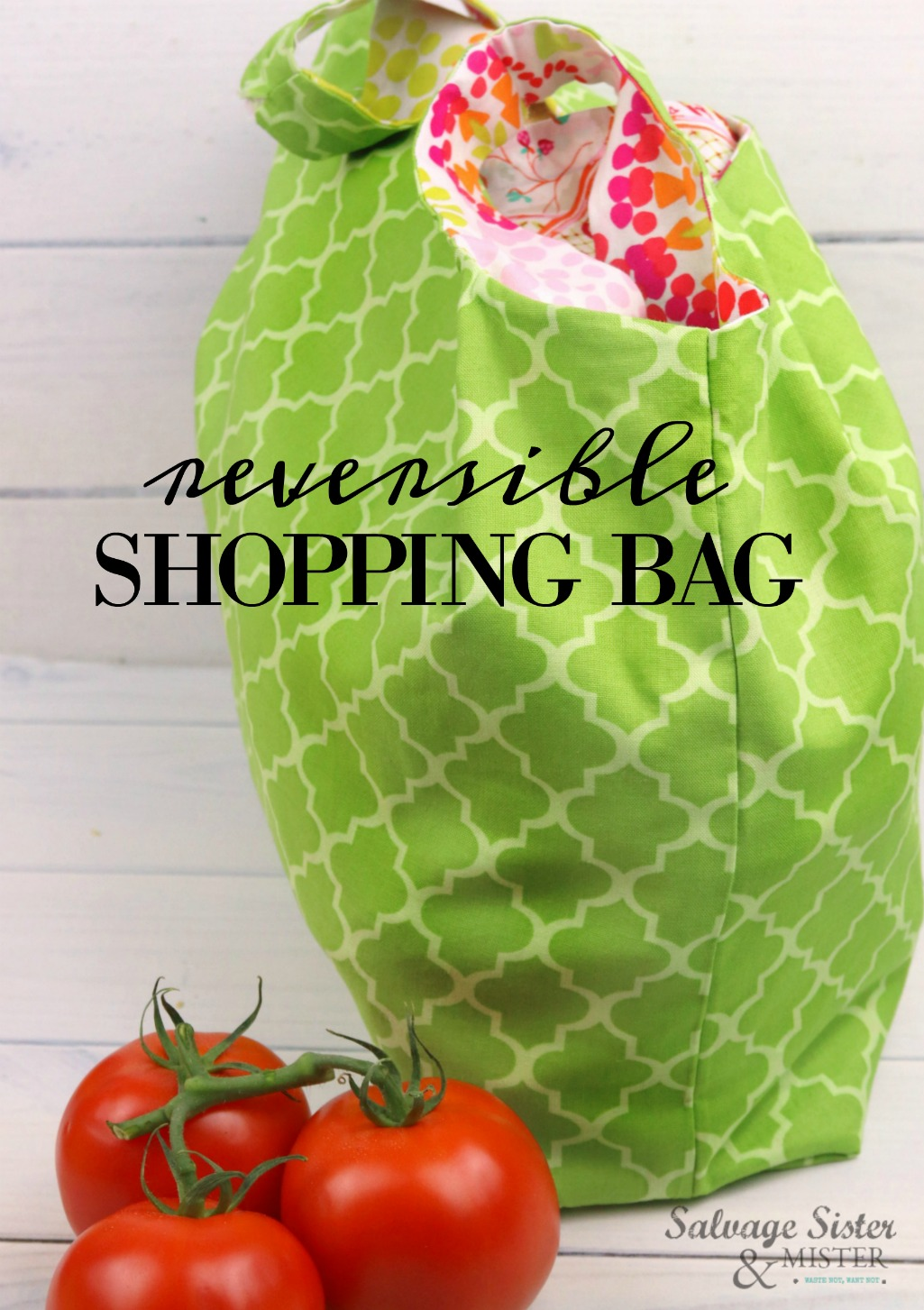 Plastic bags no more.  Make this adorable reusable bag for your groceries.  You can sew this reversible shopping bag in no time and they make great gifts.  Get this full tutorial and the PDF template on salvagesisterandmister.com