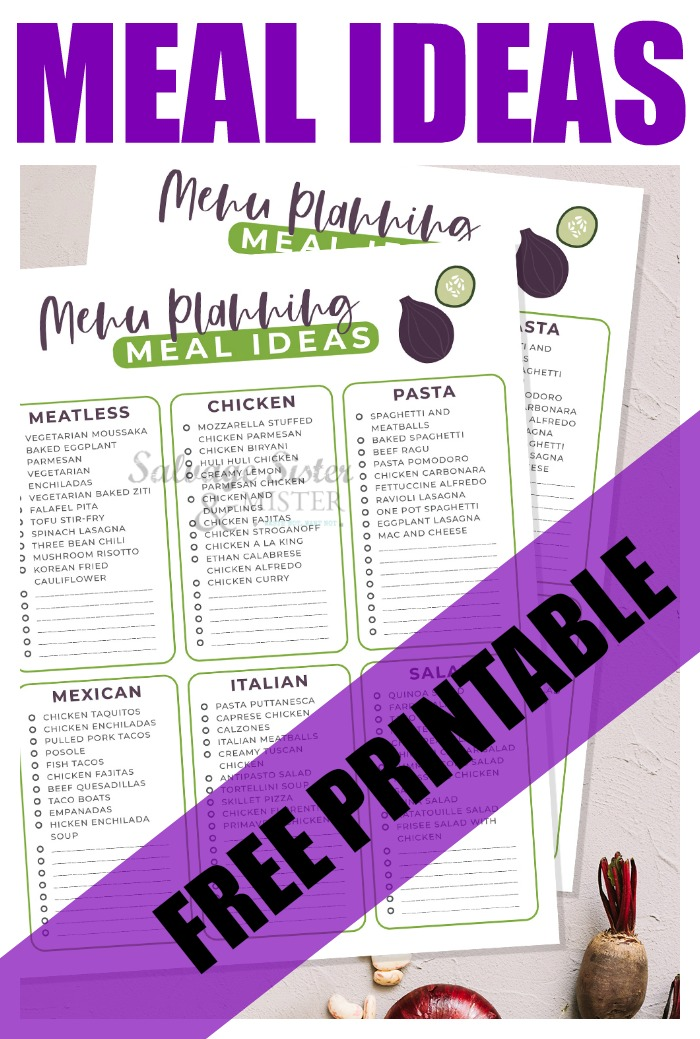 Tired of making the same dinners night after night? Are you in a diner rut? Start with these menu planning meal ideas to get you started. This free printable is our gift to you for being part of our salvagesisterandmister community. Plus, get some quick and easy dinner ideas to get you started.