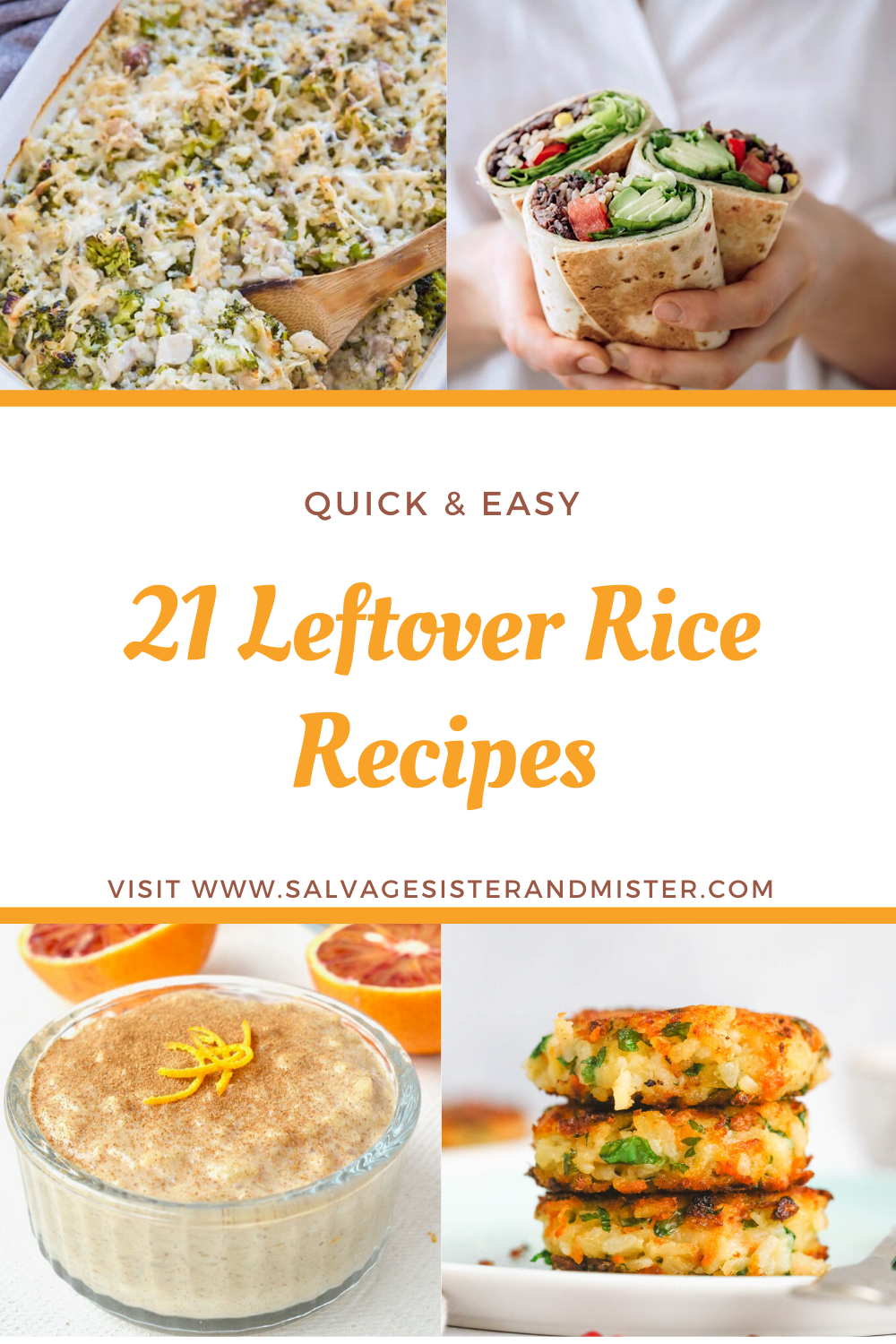 21 leftover rice recipes collage of four