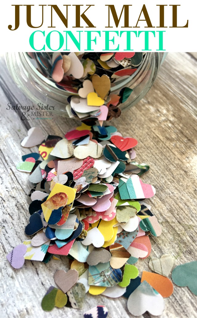 Turning the discarded into the marvelous. Junk mail confetti is easy to make (craft) and fun to use - more earth-friendly than traditional confetti. use it for your parties or in a card. Use up paper scraps, magazines, or catalogs too. Find the tutorial on salvagesisterandmister.com