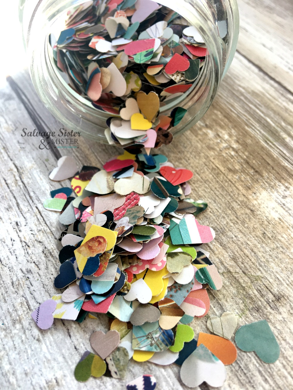 Turn your discarded catalogs or colorful mail into junk mail confetti. This is much more earth-friendly than traditional confetti options. Waste not, want not. Get the info on this fun craft on salvagesisterandmister.com