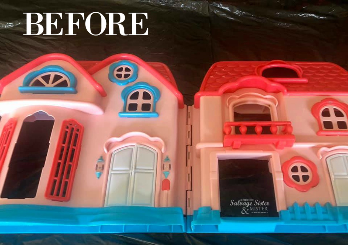 Turning a discarded plastic dollhouse into spring farmhouse home decor craft on salvagesisterandmister.com