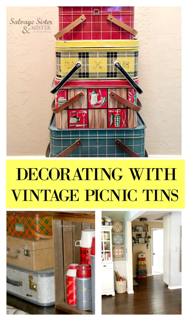 I love vintage picnic tins and this is how we use them in our decor around our home. vintage home style. flea market design. Thrift store decorating on salvagesisterandmister.com