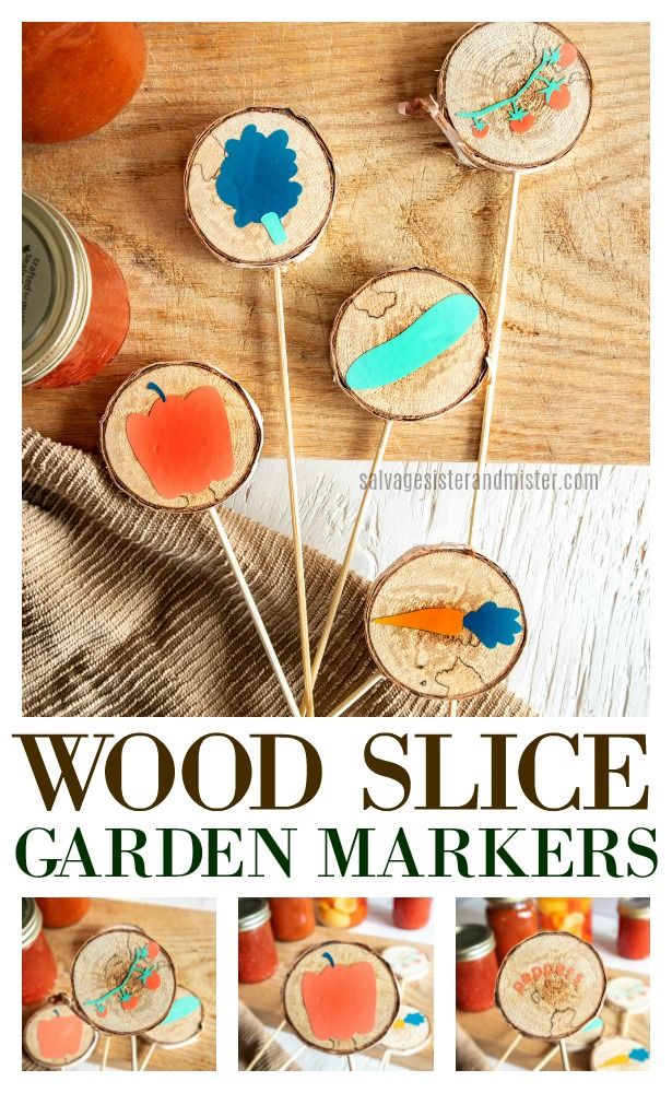 When your tree gets trimmed or a branch falls off, what do you do?  Here is one way to use it up (or reuse it).  Make these super cute wood slice garden markers with a cricut joy.  If you don't have a vinyl cutting machine, no worries, you can stencil some as well.  Get the full diy instructions on this at salvagesisterandmister.com.  Perfect for your summer garden.
