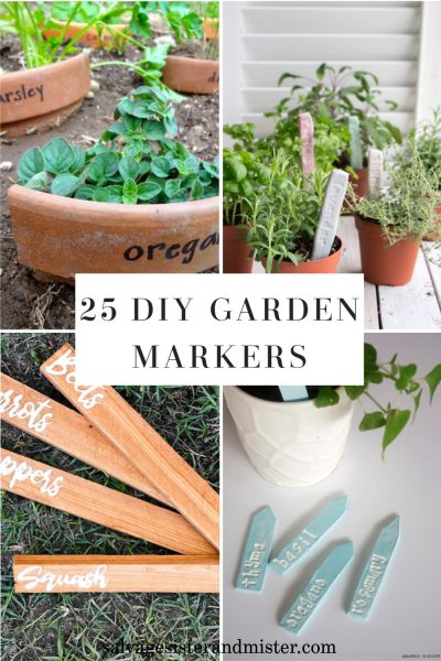 diy garden markers collage of four